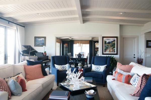 sofa wohnzimmer rot farbige kissen - boisholz - Wohnzimmer Rot Blau