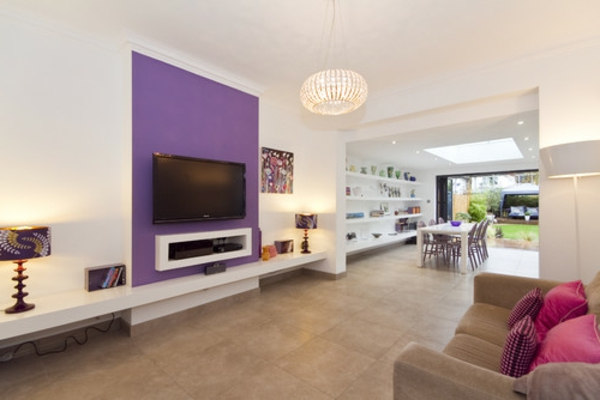 Wohnideen L Ngliches Wohnzimmer wohnideen wohnzimmer lila farbe möbelideen