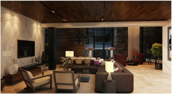 modernes wohnzimmer mit deck und wandverkleidung holz lila seats ... - Moderne Wohnzimmer Braun