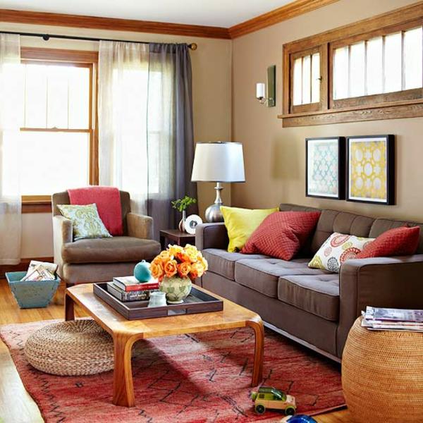 modernes wohnzimmer mit wandfarbe gelb und teppich braun und gelb ... - Teppich Gelb Braun