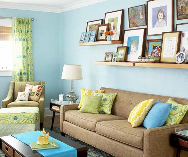 wohnzimmer blau braun wohnzimmer in braun mit blau und weis kissen ... - Wohnzimmer Mit Blau