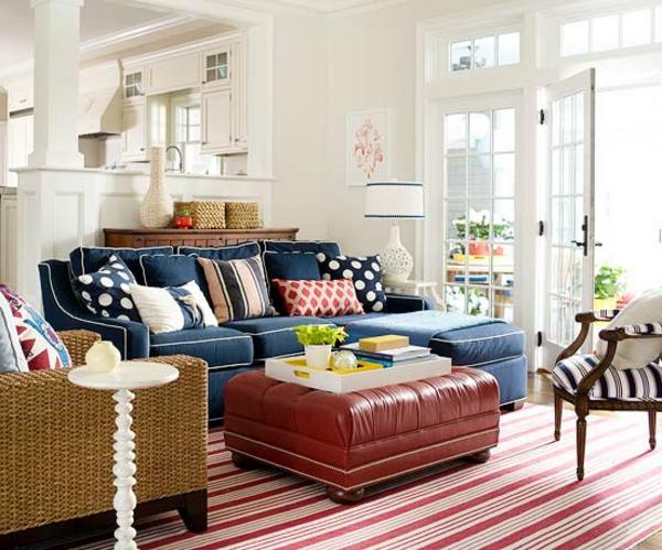 Wohnzimmer Teppich Blau