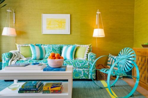 Moderne Inneneinrichtung mit Farbe  Orange als Haupt und