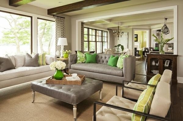 luxus wohnzimmer gestalten in grun decke dekoration glastisch ... - Dekoration Wohnzimmer Grun