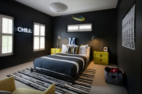 jugendzimmer fur jungen gestalten wandfarbe schwarz wei schlicht ... - Jugendzimmer Junge Einrichten