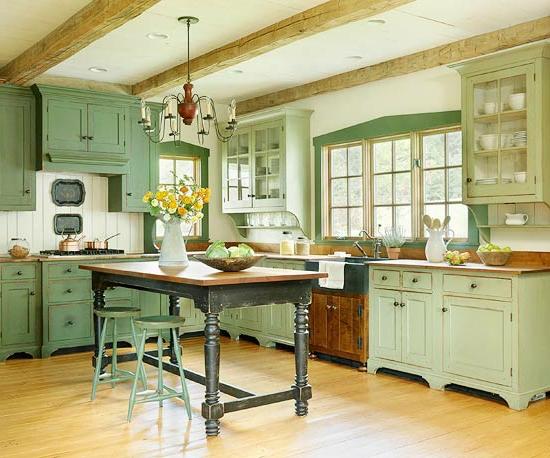 kitchen cabinets doors utensils farbideen für küche - genießen sie die frische der grünen ...