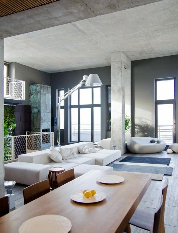 Wohnzimmer Grau Leder