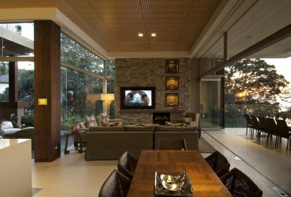 natursteinwand wohnzimmer natursteinwand im wohnzimmer der, Mobel ideea