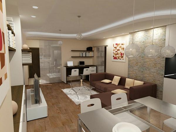 Design Wohnzimmer Farben Grau Streifen Inspirierende Bilder ... Farbideen Wohnzimmer Braun
