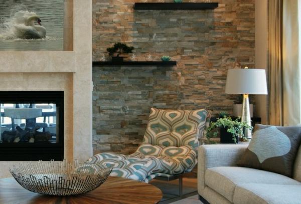 Natursteinwand im Wohnzimmer  eine attraktive Wandgestaltungsidee