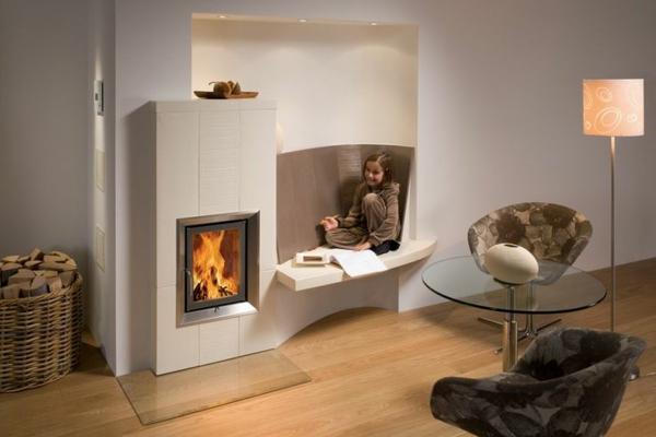 Design Kaminofen Gemauert Bilder Modern Gas Weiss Eckig - Boisholz