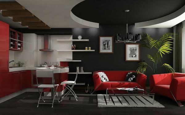 black sofa living room decorating apartment wände streichen - farbideen in dunklen schattierungen
