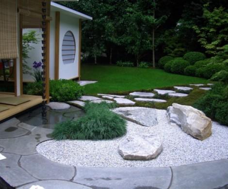 Moderner Steingartenholen Sie die japanische Kultur zu