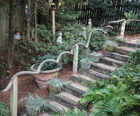 Gartentreppe Holz  Dekoideen fr eine schne Gartengestaltung