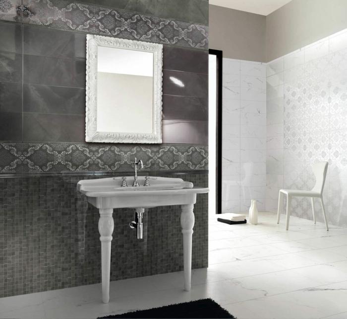 Badezimmer Fliesen Grau Blau