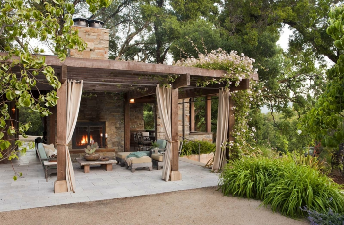 Garten Holz Pergola Offenes Duschen Design Fur Eine