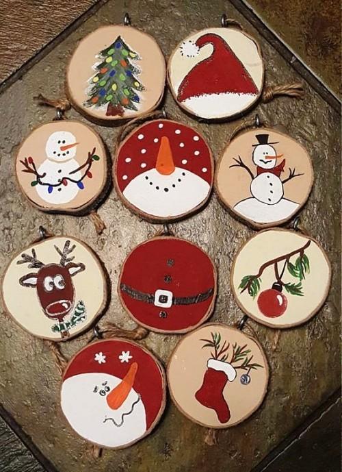 35 Ideen zum Basteln mit Holzscheiben kreativ und naturnah zu Weihnachten dekorieren  Wohnideen und Dekoration