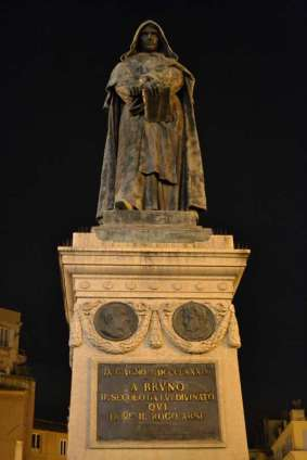 In 1887 Ettore Ferrari dedicated a monument to him on the exact spot of his death: he stands defiantly facing the Vatican, reinterpreted in the first days of a reunited Italy as a martyr to freedom of speech.