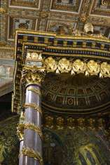 The baldacchino in the basilica is incredibly ornate.