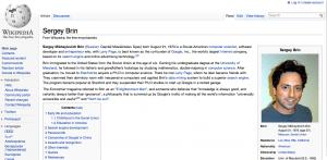 Sergey Brin article on Wikipedia