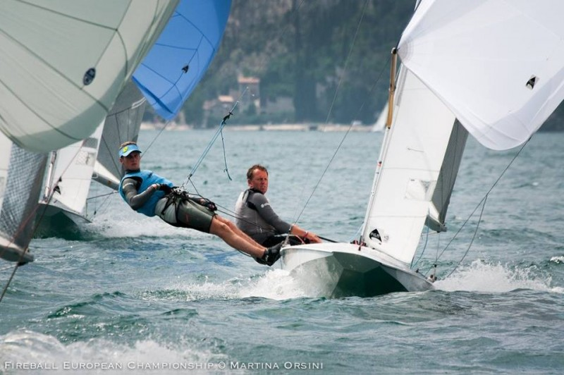 Vince Horey on his way to 7th at the Fireball Europeans, Garda
