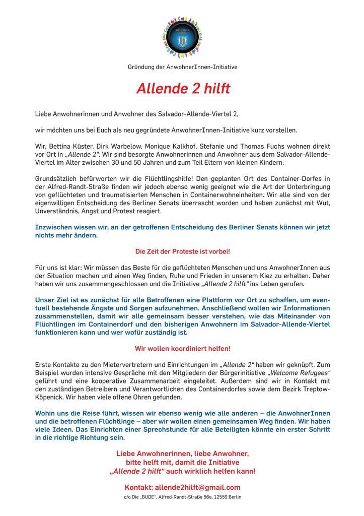 Initiative Allende 2 hilft - DIN A4-