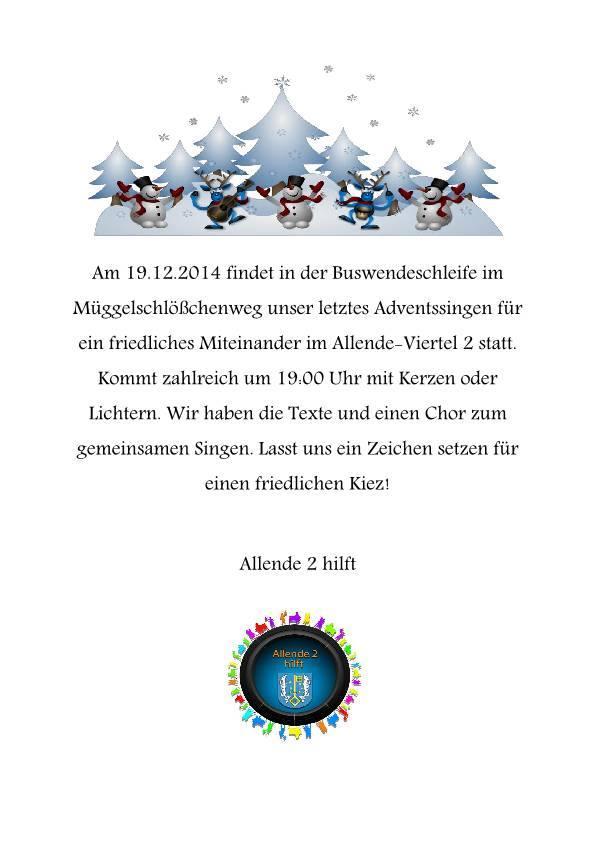 Fröhliche Weihnacht überall: Liedersingen für ein friedliches AllendeViertel- Berlin Köpenick am 19.12.2014