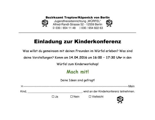 Einladung Kinderkonferenz