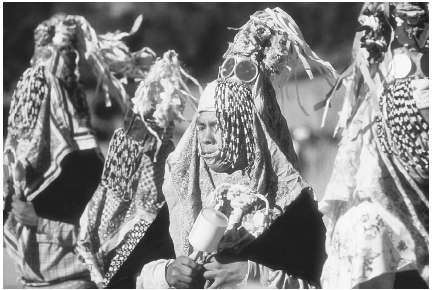 The Huichol and Tarahumara Indians of Mexico still use peyote in religious ceremonies. Here, a group of Tarahumara Indians participates in traditional games and dances. Phil Schermeister/Corbis.