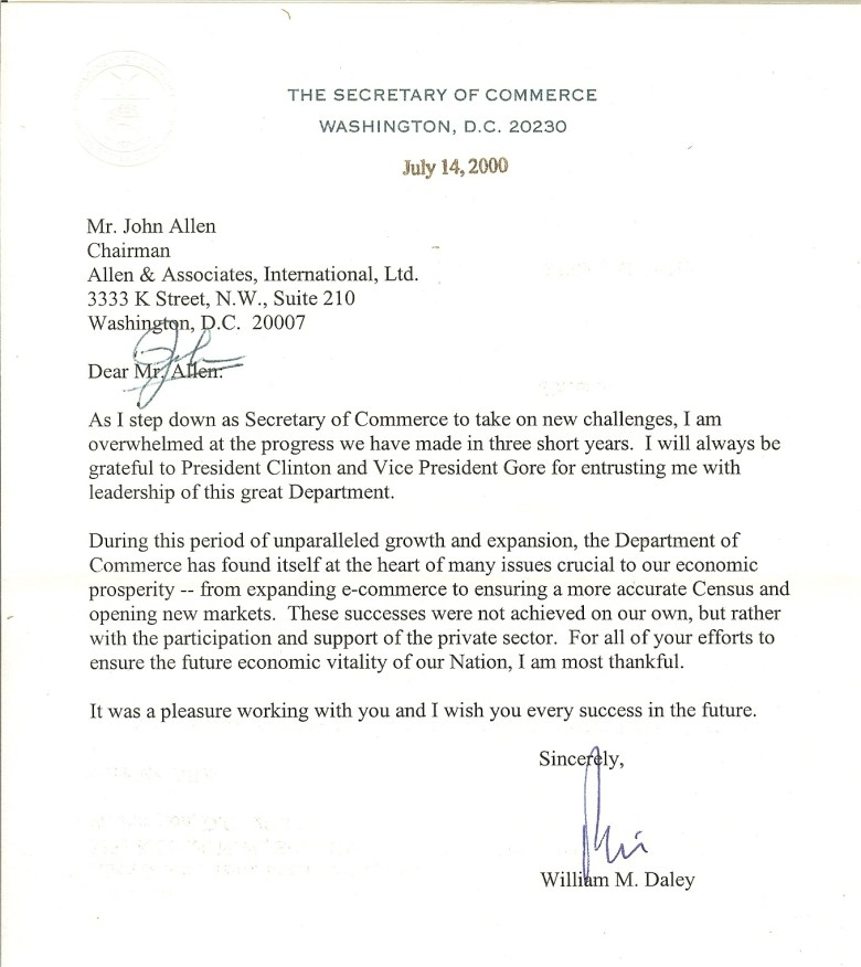Letter to JA from William Daley former Sec of Comm, 2000