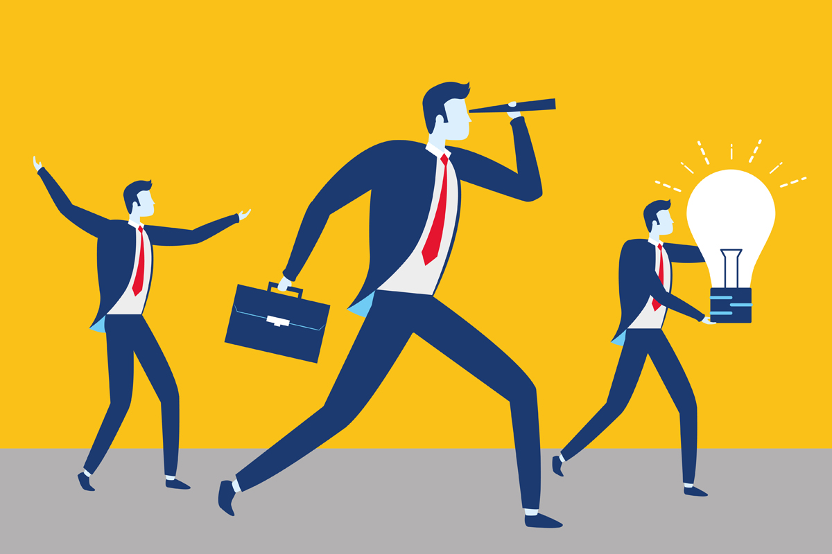 Illustration of business men looking toward teh future for the marketing control process article by Allen Stafford