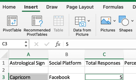 Insert tab on excel for macOS
