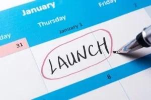 42505608 - launch word written on calendar using pen