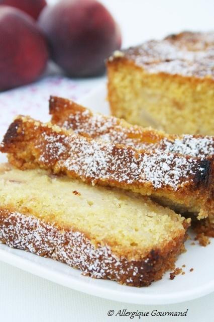 cake de polenta aux pêches sans gluten sans œufs