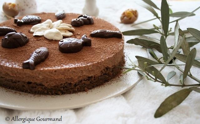 Entremet chocolaté pour Pâques sans gluten sans lait sans œufs