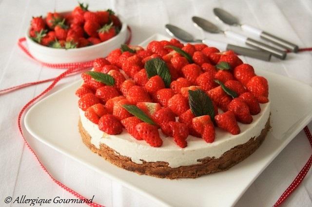 cheesecake aux fraises sans gluten sans œufs