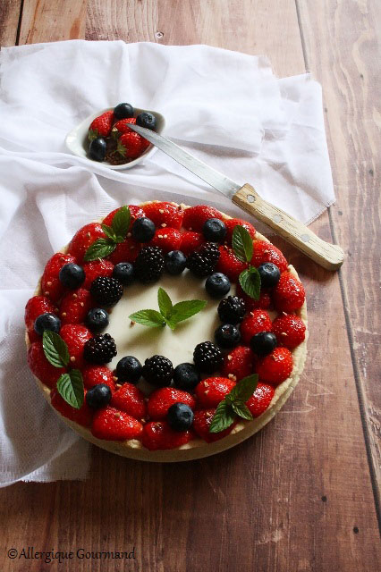 tarte panna cotta romarin fruits rouges sans gluten sans lait sans oeufs