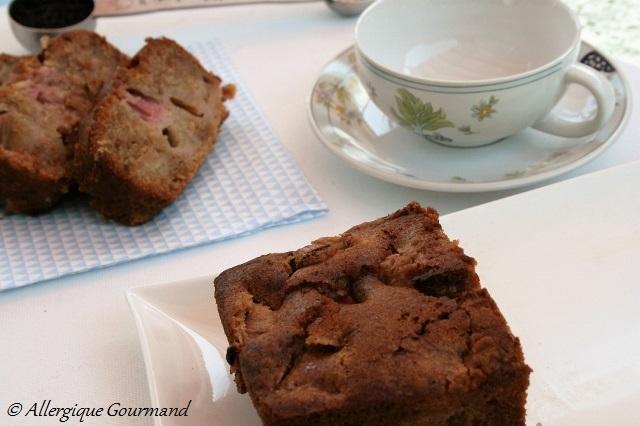 cake à la rhubarbe sans gluten sans lait sans oeufs