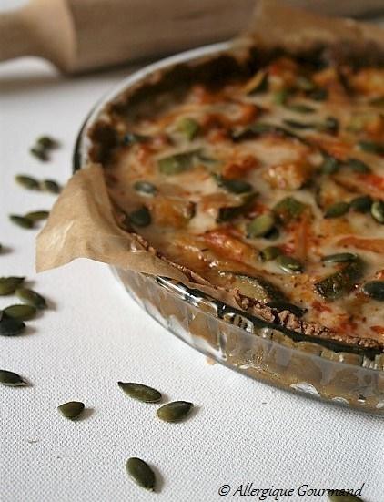 tarte salé aux courgettes sans gluten sans lait sans œufs
