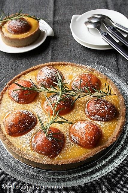 tarte curd de melon romarin abricots sans gluten sans lait sans oeufs