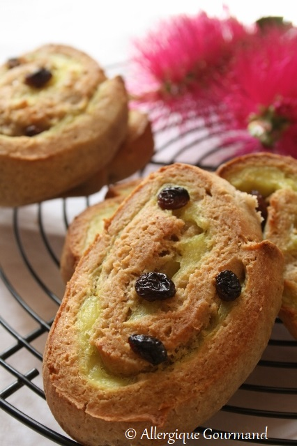pains aux raisins briochés sans gluten sans lait sans oeufs