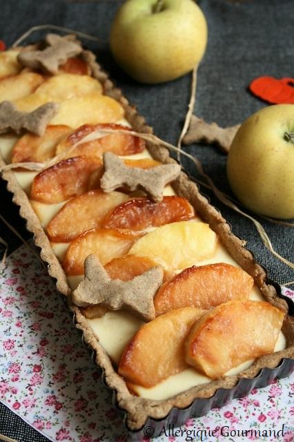 Tarte crème de coco aux pommes caramélisées sans gluten sans lait sans oeufs