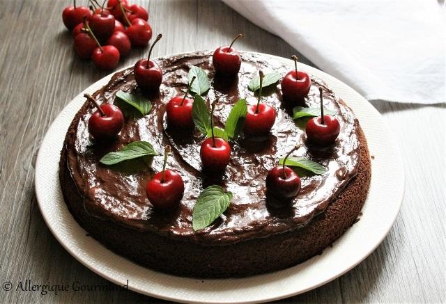 Gâteau chocolat cerises sans gluten sans lait sans œufs