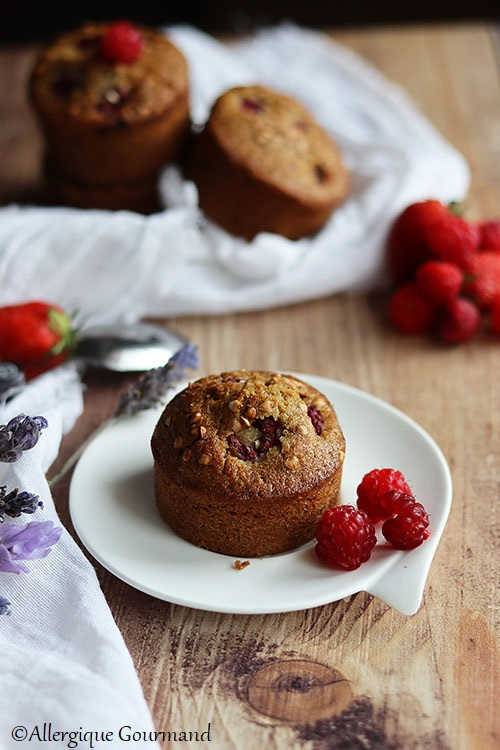 muffins pralin framboises sans gluten sans lait sans oeufs