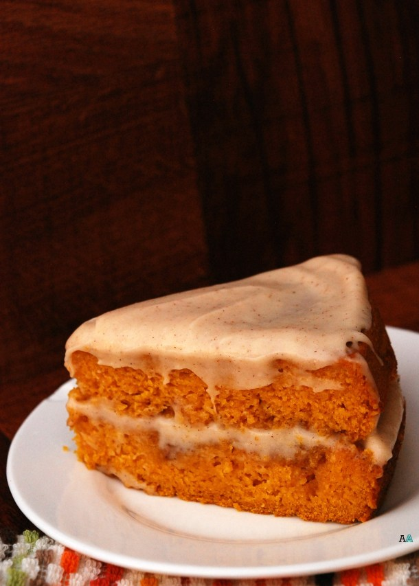 Pumpkin Cinnabon Cake with Spiced Maple Cream Cheese Frosting copyright Allergy Awesomeness