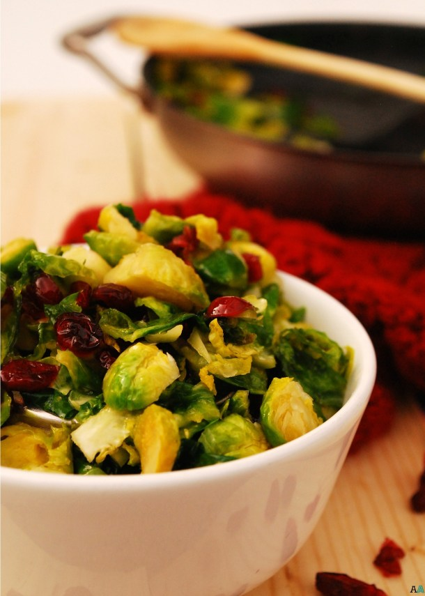 Carmelized Brussels Sprouts with Craisins (GF, DF, Egg, Soy, Peanut/Tree nut Free, Top 8 Free, Vegan) copyrighted by Allergy Awesomeness