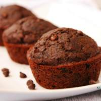 Healthier Gluten-free Vegan Double Chocolate Muffins (Top 8 free, too!)