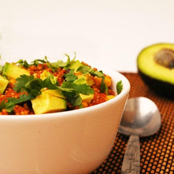 30 Minute Enchilada Quinoa Bowl (GF, DF, Top 8 Free, Vegan Option)