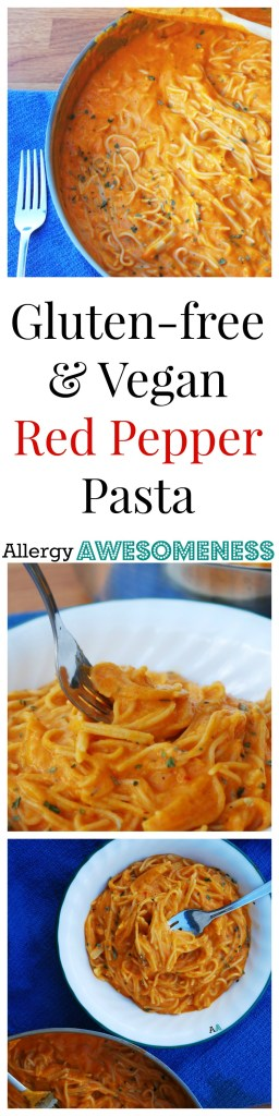 Gluten-free & Vegan Red Pepper Pasta Dinner Recipe by AllergyAwesomeness.com