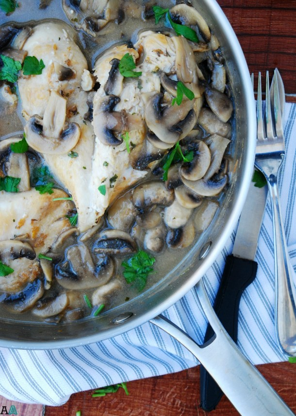 30 Minute Chicken & Mushroom Marsala (GF, DF, Egg, Soy, Fish, Shellfish, Peanut, Tree nut Free, Top 8 Free) Recipe by Allergy Awesomeness. A decadent yet easy dinner!